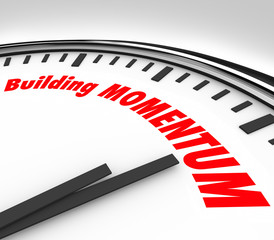 Building Momentum Clock Time Words Moving Forward