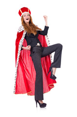 Woman business posing as queen isolated on white