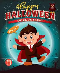 Vintage Halloween poster design with children in vampire costume