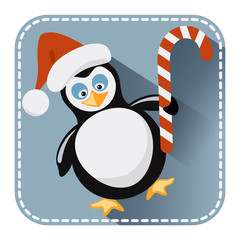 Flat avatar with penguin in Santa Claus hat and bonbon