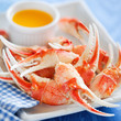 Boiled crab claws with orange sauce, selective focus - 71069689
