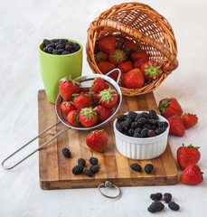 Fresh strawberries on a kitchen table