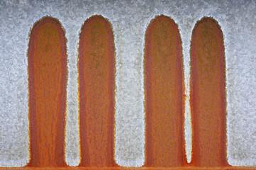 Hintergrund angerostetes verzinktes Eisenblech mit Ablaufspuren
