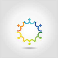 people vector icon connected together in a circle