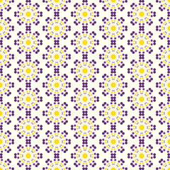Yellow and Purple Abstract Circle Flower Pattern on Pastel Color