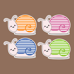 Illustration of the four snails with different colors
