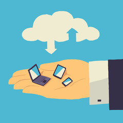 Cloud storage over human hand with tablet, laptop and smartphone