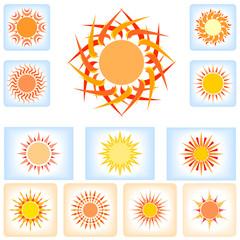 Designer Sun icons in calligraphic style