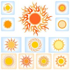 Designer Sun icons in calligraphic yellow & orange