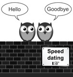 Monochrome comical speed dating sign