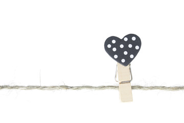 Heart-shaped wooden clip