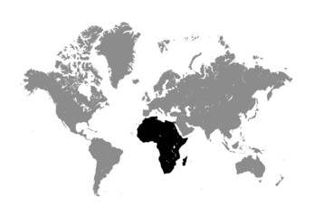 World Map on white background. map of Africa