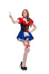 Woman waitress in octoberfest concept