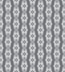 Silver Classic Flower and Lobe Seamless Pattern