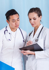 Couple of doctors during job