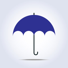 Dark blue umbrella simple icon