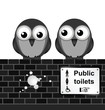 Monochrome comical toilet sign on brick wall