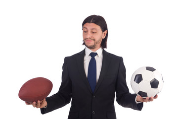 Businessman with football isolated on white