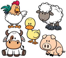 Vector Illustration of Cartoon Animals farm set