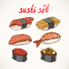 six different kinds of sushi