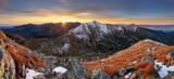 Mountain sunset panorama in West Tatras