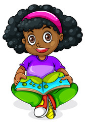 A Black young girl reading