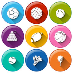 Round icons with the different sports balls