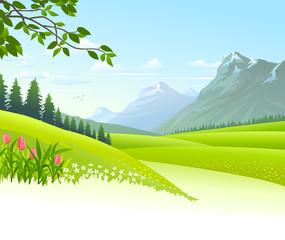 An illustration of stunning lush green landscape
