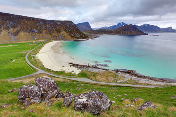 Green beach in Norway, Utakleiv
