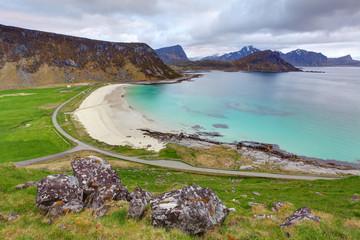 Green beach in Norway, Utakleiv