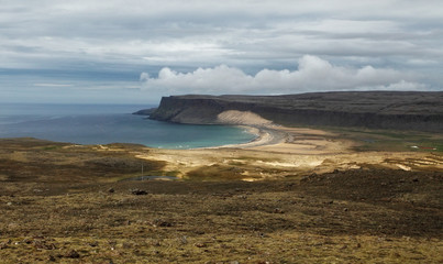 Fjords rise from the sea in the Westfjords Peninsula, northweste