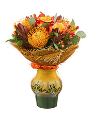 Bouquet from Roses and Arabian Star Flower in Vase Isolated.