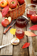 Autumn still life. Freshly cooked apple jam.