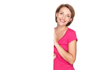 happy woman with banner isolated on white background