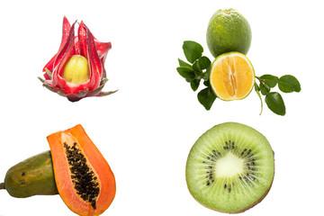 Okra, oranges, papaya, kiwi