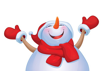 Vector happy snowman cartoon isolated.