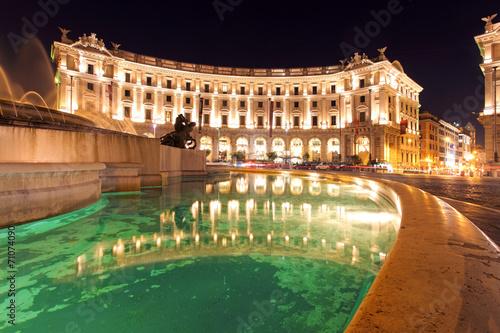 Fotobehang Fontaine Piazza Repubblica, Rome at night