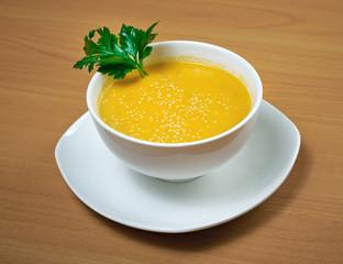 bowls of squash soup