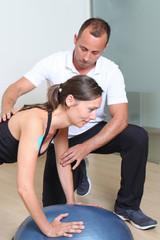 balance training on platform with coach