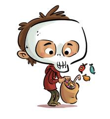 niño disfrazado de calavera con caramelos