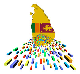 Sri Lanka map flag with containers illustration