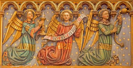 Bruges - The Carved neogothic relief of angels in Salvatorskerk