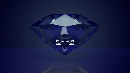 Blue glamorous diamond, 3D rendered.Loop able.