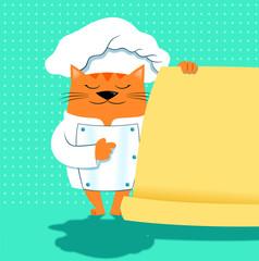 A cat chef with a menu