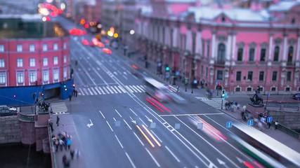 Nevsky Prospect Saint Petersburg Evening Tilt-Shift Time Lapse