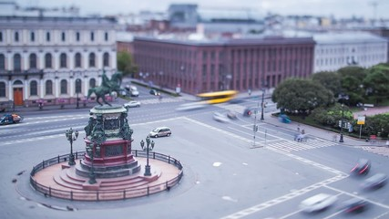 Saint Isaac's Squaret Saint Petersburg  Tilt-Shift Time Lapse