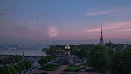 Peter and Paul Fortress, Saint Petersburg, Firework Time Lapse