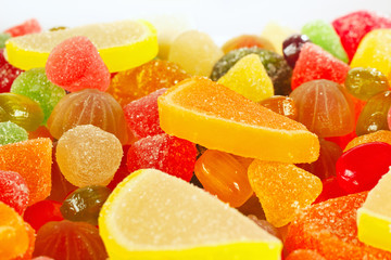 Colorful fruity candies and jujube close up
