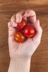 Cherry tomatoes in a woman's palm.