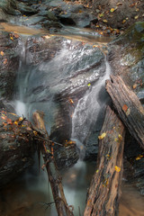 detail of little waterfall on the forest creek in west Slovakia